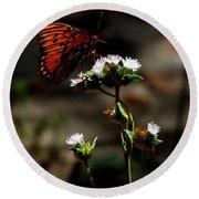 Gulf Fritillary Butterfly Too Round Beach Towel