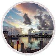 Gulfport Harbor Colors Round Beach Towel