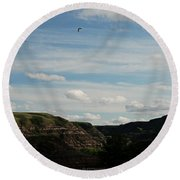 Gull Over The Badlands Round Beach Towel
