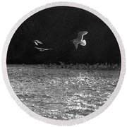 Gulls On The River Round Beach Towel