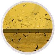 Gulls Orange Tint Round Beach Towel