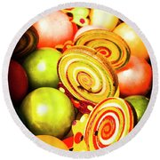 Gumdrops And Candy Pops  Round Beach Towel