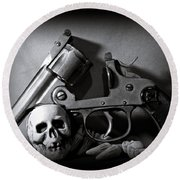Gun And Skull Round Beach Towel