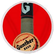 Gunther Beer Round Beach Towel
