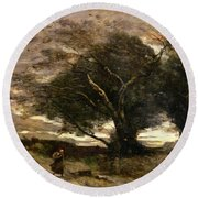 Gust Of Wind Round Beach Towel by Jean Baptiste Camille Corot