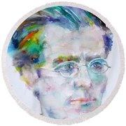 Gustav Mahler - Watercolor Portrait.3 Round Beach Towel