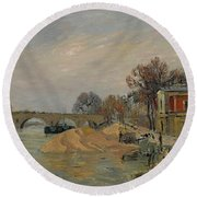 Gustave Loiseau 1865 - 1935 Marie Bridge In Paris Round Beach Towel