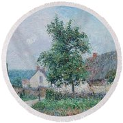 Gustave Loiseau 1865 - 1935 Small Farm In Vaudreuil, Time Gray Round Beach Towel