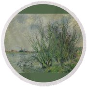 Gustave Loiseau 1865 - 1935 Willows, Edges Oise Or On The Banks Of The Oise Round Beach Towel