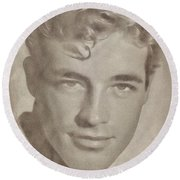 Guy Madison, Vintage Hollywood Actor Round Beach Towel