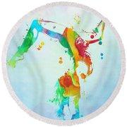 Gymnast Watercolor Paint Splatter Round Beach Towel