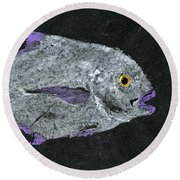Gyotaku African Pompano Round Beach Towel by Captain Warren Sellers