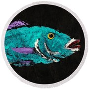 Gyotaku Hog Lipped Snapper Round Beach Towel