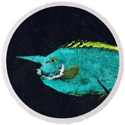 Gyotaku Mu Mu Round Beach Towel by Captain Warren Sellers