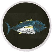 Gyotaku Yellowfin Tuna Round Beach Towel