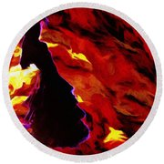 Gypsy Flame Round Beach Towel