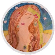 Gypsy Girl 2 Love To The World Round Beach Towel
