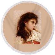 Gypsy Girl Round Beach Towel by George Elgar Hicks