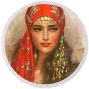 Gypsy Girl Portrait Round Beach Towel