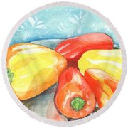 Gypsy Peppers Round Beach Towel