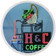 H And C Coffee Round Beach Towel
