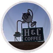 H And C Coffee Sign Roanoke Virginia Round Beach Towel