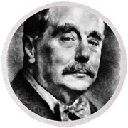 H. G. Wells Author Round Beach Towel