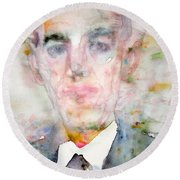 H. P. Lovecraft - Watercolor Portrait.3 Round Beach Towel