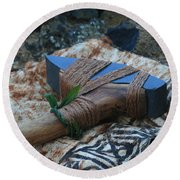 Hafted Hawaiian Adze Wailea Maui Hawaii Round Beach Towel