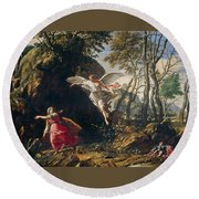 Hagar And Ishmael In The Wilderness Round Beach Towel