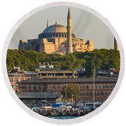 Hagia Sophia On The Bosphorus  Round Beach Towel