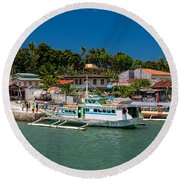 Hagnaya's Port And Fishing Village Round Beach Towel