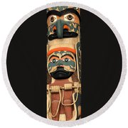 Haida Faces Round Beach Towel
