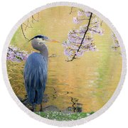 Haiku, Heron And Cherry Blossoms Round Beach Towel