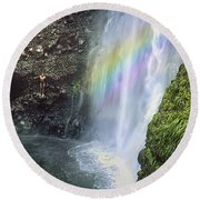 Haines Falls Island Of Dominica Round Beach Towel