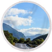 Hairpin Curve On Greek Mountain Road Round Beach Towel