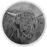 Hairy Highlander Bw Round Beach Towel