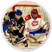 Halak Catches The Puck Stanley Cup Playoffs 2010 Round Beach Towel