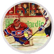 Halak Makes Another Save Round Beach Towel by Carole Spandau