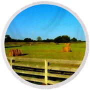 Hale Bales In Late Summer Round Beach Towel