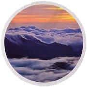 Maui Hawaii Haleakala National Park Golden Dawn Round Beach Towel