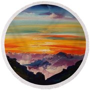 Haleakala Volcano Sunrise In Maui      101 Round Beach Towel