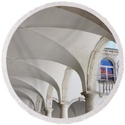 Half Arched Portal Of The Minorite Monastery Cloister Attached T Round Beach Towel