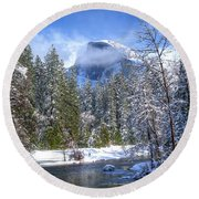 Half Dome And The Merced River Round Beach Towel