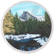 Half Dome Snow Round Beach Towel