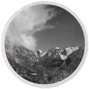 Half Dome Winter Round Beach Towel