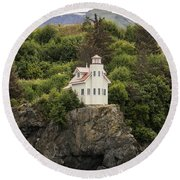 Halibut Cove Lighthouse Round Beach Towel