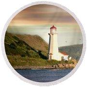 Halifax Harbor Lighthouse Round Beach Towel