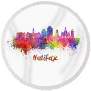 Halifax V2 Skyline In Watercolor Splatters With Clipping Path Round Beach Towel