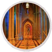 Hall Of The Cathedral Round Beach Towel